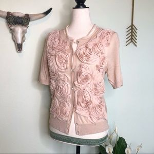 LOFT Dusty Rose Ruffle Short Sleeve Cardigan S